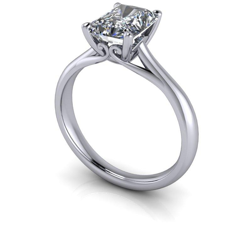 1.80 CTW Radiant Cut Colorless Moissanite Solitaire Engagement Ring-Bel Viaggio Designs