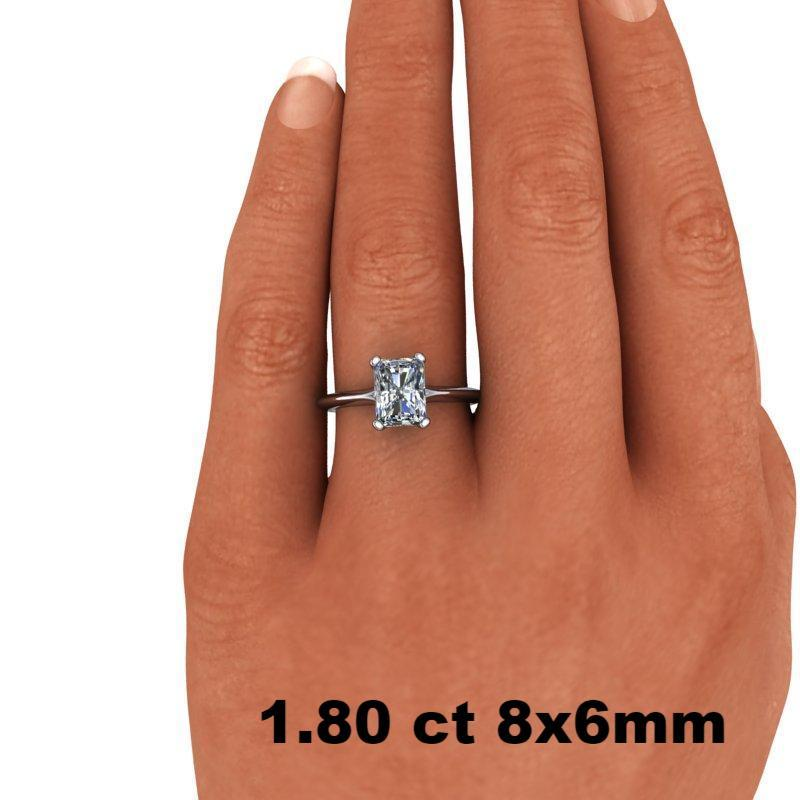 1.80 CTW Radiant Cut Forever One Moissanite Solitaire Engagement Ring - Stone Options-BVD