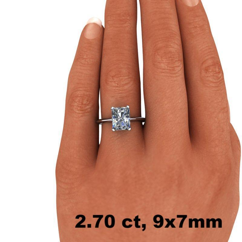 1.80 CTW Radiant Cut Forever One Moissanite Solitaire Engagement Ring - Stone Options-Bel Viaggio Designs, LLC