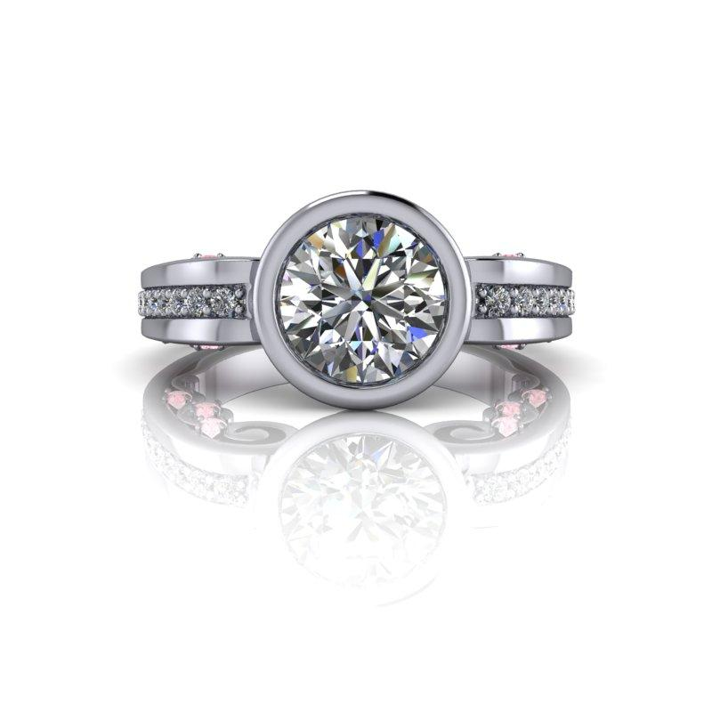 1.81 CTW White Sapphire Engagement Ring and Pink Diamonds-Bel Viaggio Designs