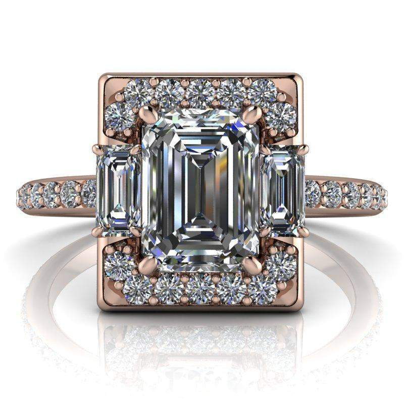 1.83 CTW Emerald Cut Colorless Moissanite Halo Engagement Ring-Bel Viaggio Designs, LLC