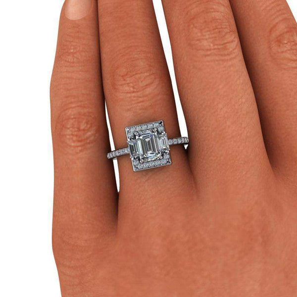 1.83 CTW Emerald Cut Colorless Moissanite Halo Engagement Ring-Bel Viaggio Designs