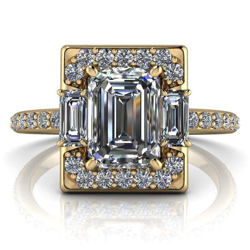 1.83 CTW Forever One Emerald Cut Colorless Moissanite Halo Engagement Ring-BVD