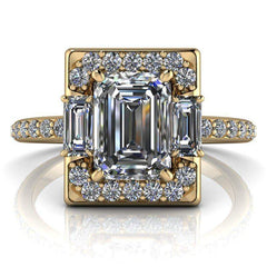 1.83 CTW Forever One Emerald Cut Colorless Moissanite Halo Engagement Ring-Forever One-Bel Viaggio Designs-Bel Viaggio®