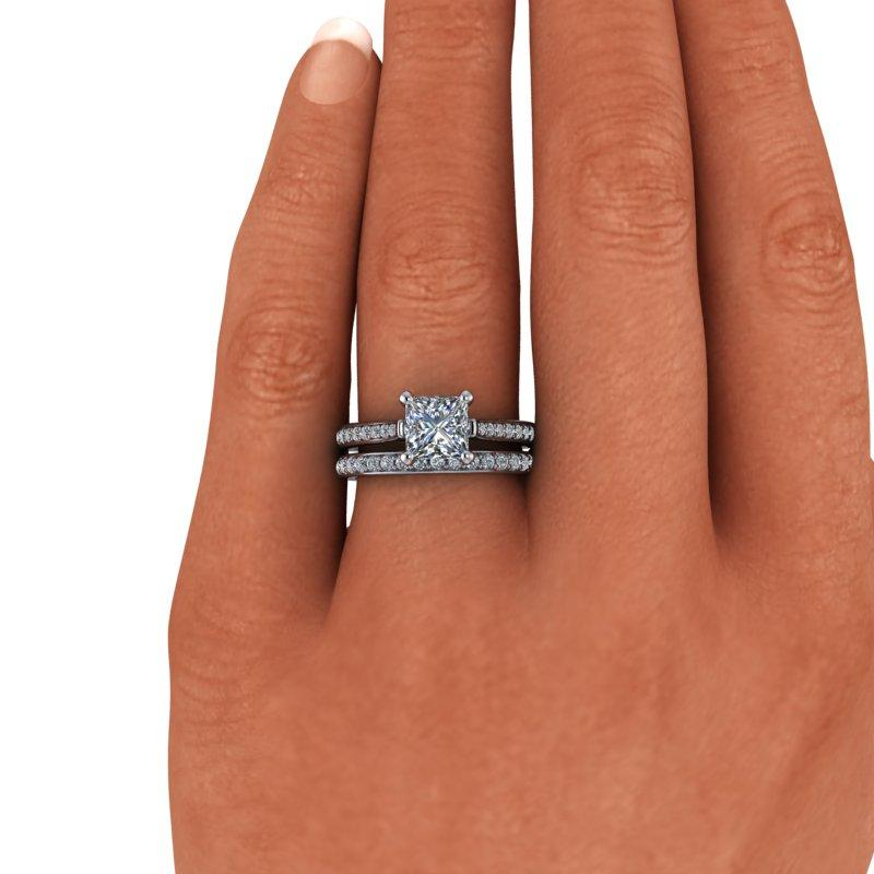 1.83 CTW Princess Cut Forever One Moissanite Cathedral Bridal Set, Center Stone Options-Bel Viaggio Designs, LLC
