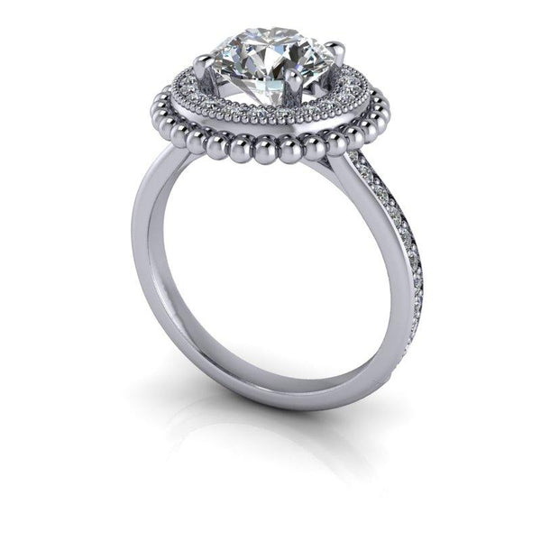 1.84 CTW Halo Engagement Ring, Moissanite Round Engagement Ring-Bel Viaggio Designs