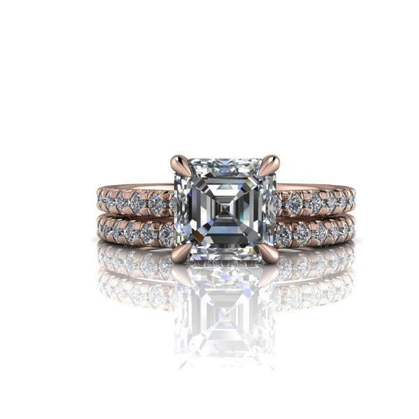 1.85 CTW Asscher Cut Forever One Moissanite French Set Bridal Set, Center Stone Options-BVD
