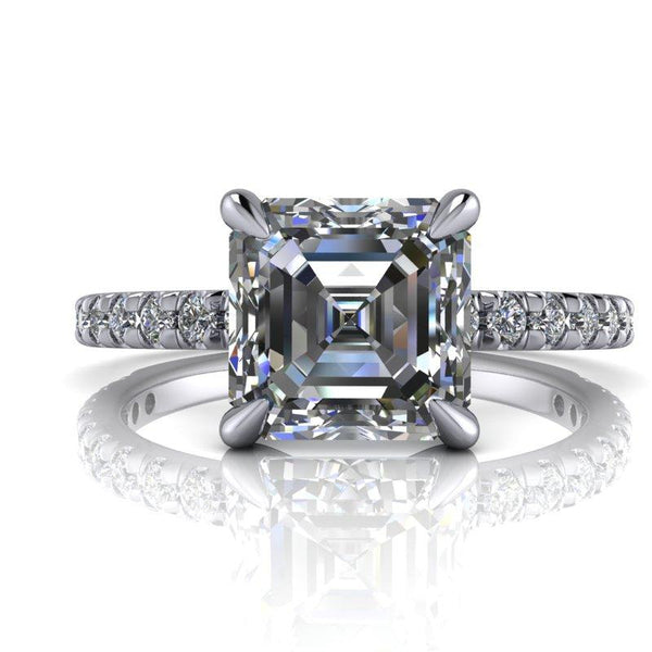 1.85 CTW Asscher Cut Forever One Moissanite French Set Bridal Set-Bel Viaggio Designs