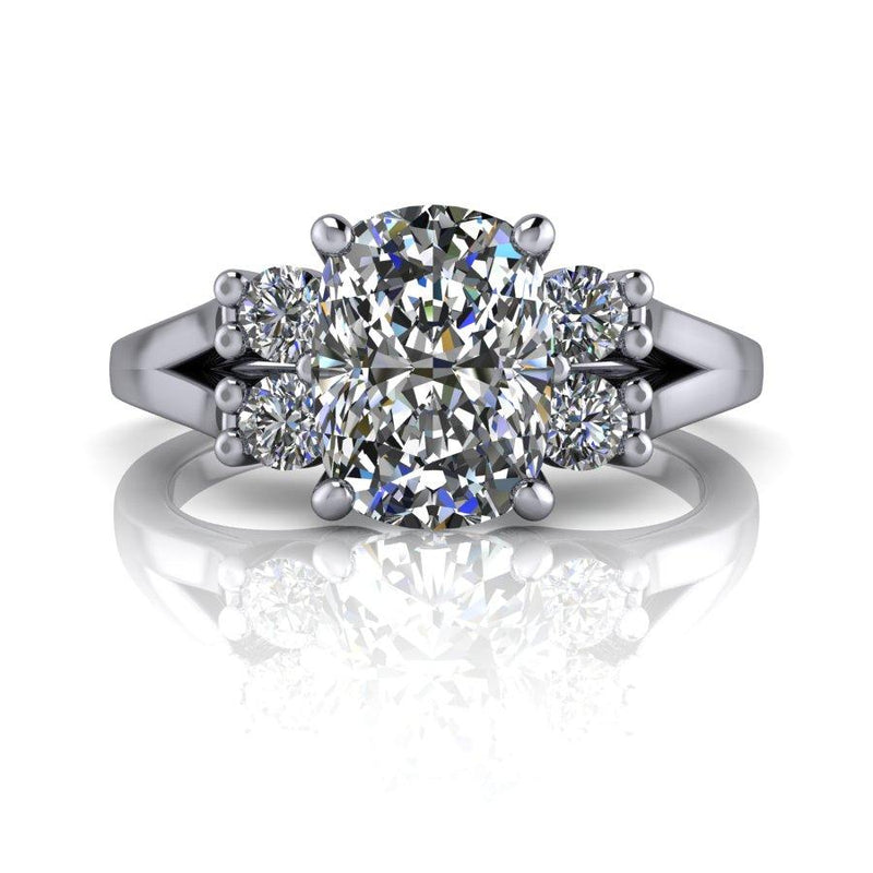 1.85 CTW Moissanite Engagement Ring, Elongated Cushion Cut-Bel Viaggio Designs