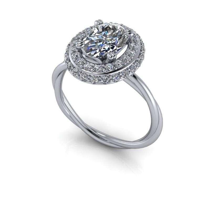1.85 CTW Oval Forever One Moissanite Halo Engagement Ring-Bel Viaggio Designs
