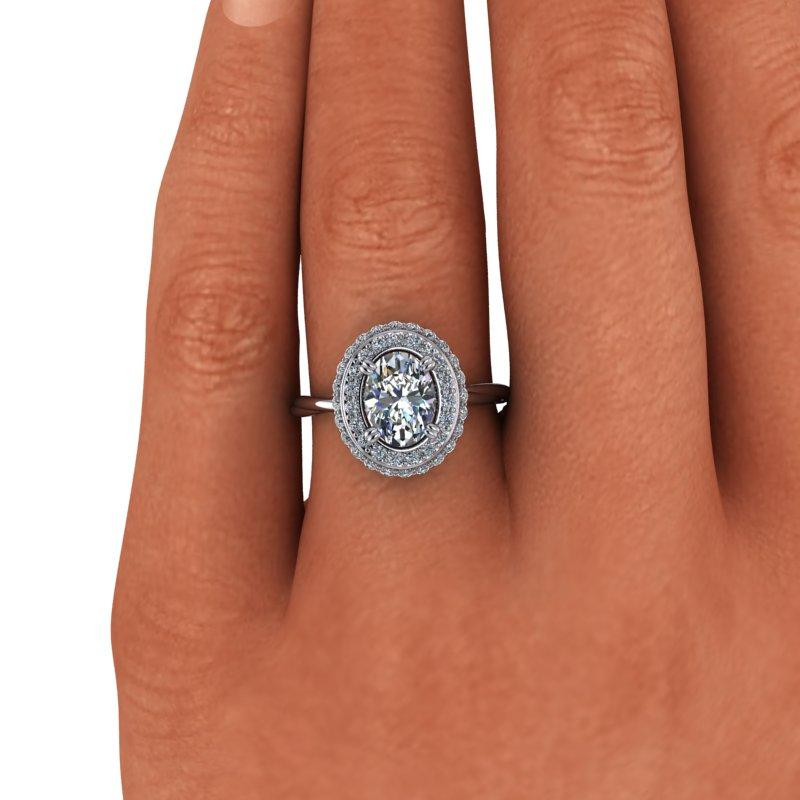 1.85 CTW Oval Forever One Moissanite Halo Engagement Ring-BVD