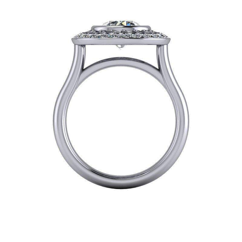 1.85 CTW Unique Moissanite Halo Engagement Ring-BVD