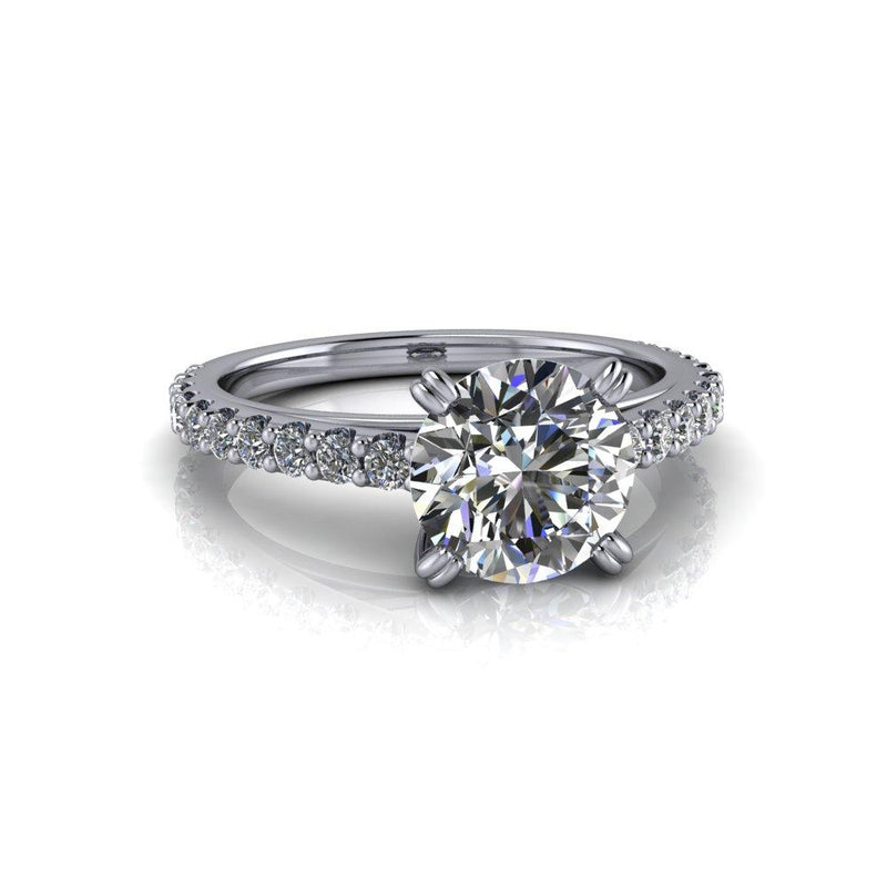 1.87 CTW Forever One Round Moissanite Engagement Ring Cathedral Ring-Bel Viaggio Designs