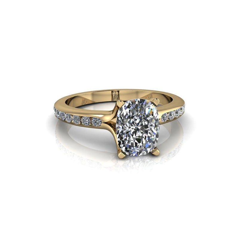 1.88 CTW Elongated Cushion Cut Moissanite Engagement Ring-Bel Viaggio Designs