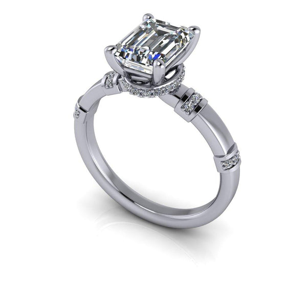 1.90 CTW Emerald Cut Colorless Moissanite Engagement Ring-Bel Viaggio Designs