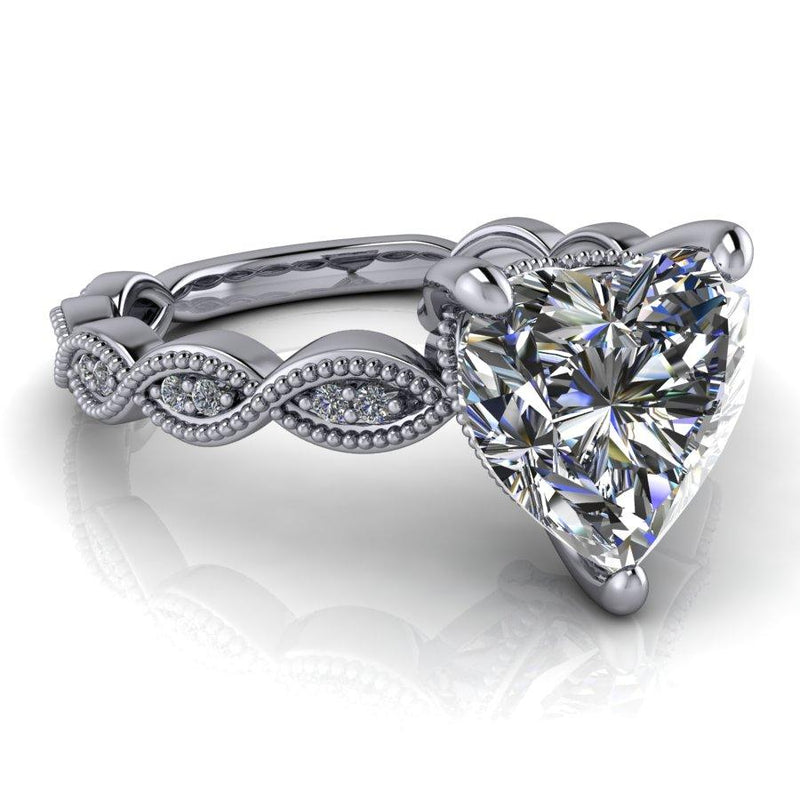1.90 CTW Heart Shape Moissanite Engagement Ring, DEF Color-Bel Viaggio Designs