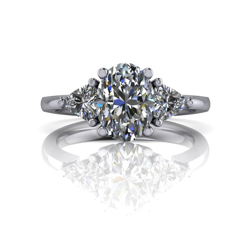 1.90 CTW Oval & Trillion Three Stone Moissanite Engagement Ring-Bel Viaggio Designs