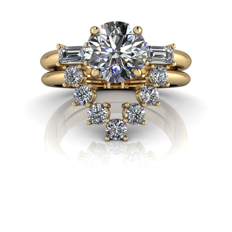 1.90 ctw Round Charles & Colvard Colorless Moissanite Engagement Ring/Bridal Set-Bel Viaggio Designs