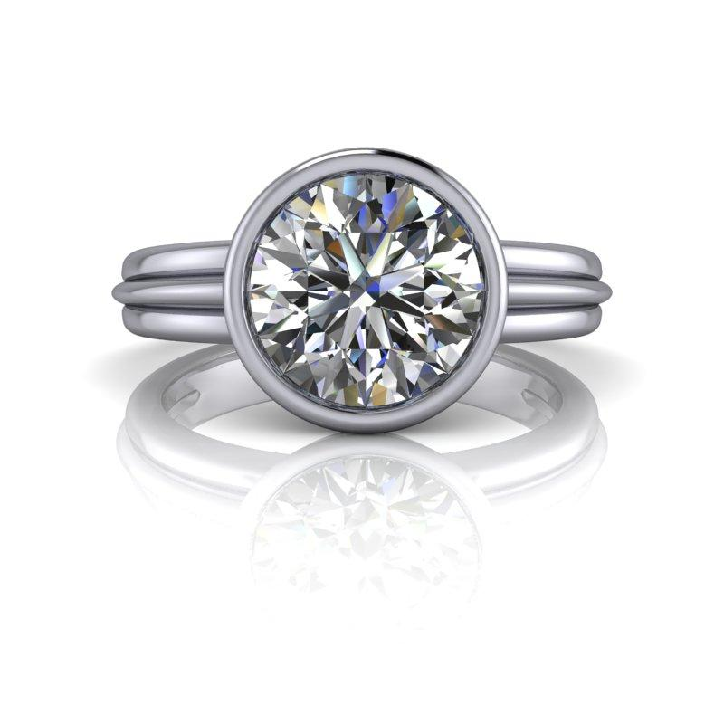 1.90 CTW Round Forever One Moissanite Bezel Set Solitaire Ring-Bel Viaggio Designs, LLC