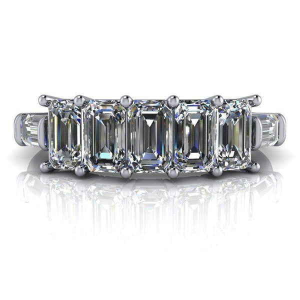 1.92 CTW 7-Stone Emerald Cut and Baguette Moissanite Anniversary Ring or Wedding Band-Bel Viaggio Designs