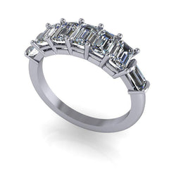 1.92 CTW 7-Stone Emerald Cut and Baguette Moissanite Anniversary Ring or Wedding Band-Bel Viaggio Designs, LLC