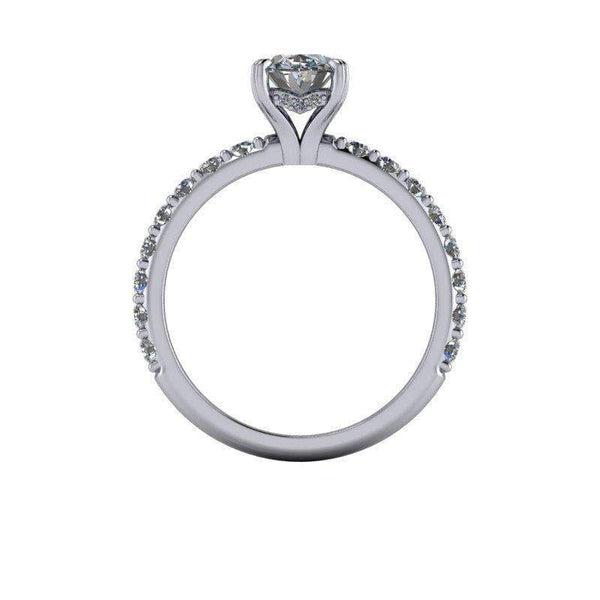 1.92 CTW Colorless Moissanite Oval Engagement Ring-Bel Viaggio Designs