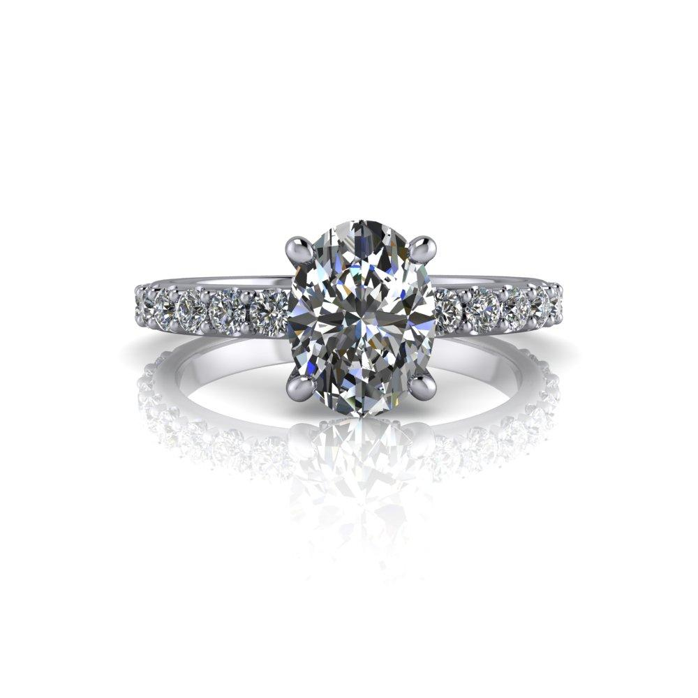 1.92 CTW Forever One Colorless Moissanite Oval Engagement Ring-BVD