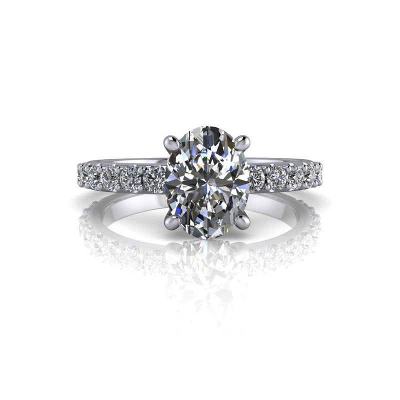 1.92 CTW Forever One Colorless Moissanite Oval Engagement Ring-Bel Viaggio Designs