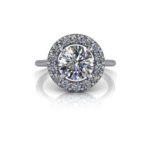 1.92 CTW Halo Engagement Ring - Colorless Moissanite Engagement Ring-Bel Viaggio Designs, LLC