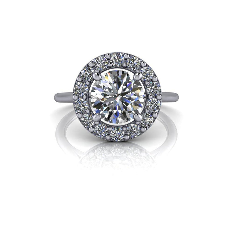 1.92 CTW Halo Engagement Ring Colorless Moissanite Engagement Ring-Bel Viaggio Designs