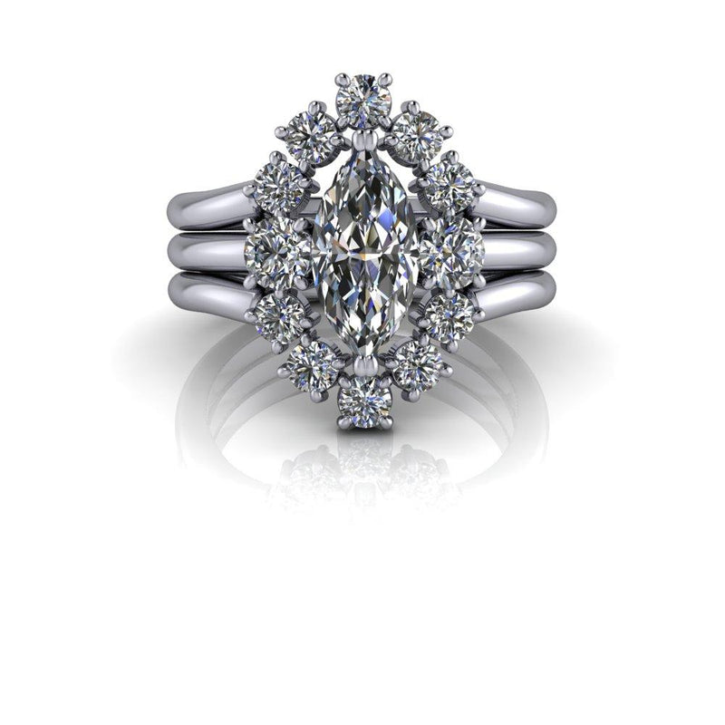 1.92 ctw Marquise Forever One Colorless Moissanite Engagement Ring Bridal Set-Bel Viaggio Designs