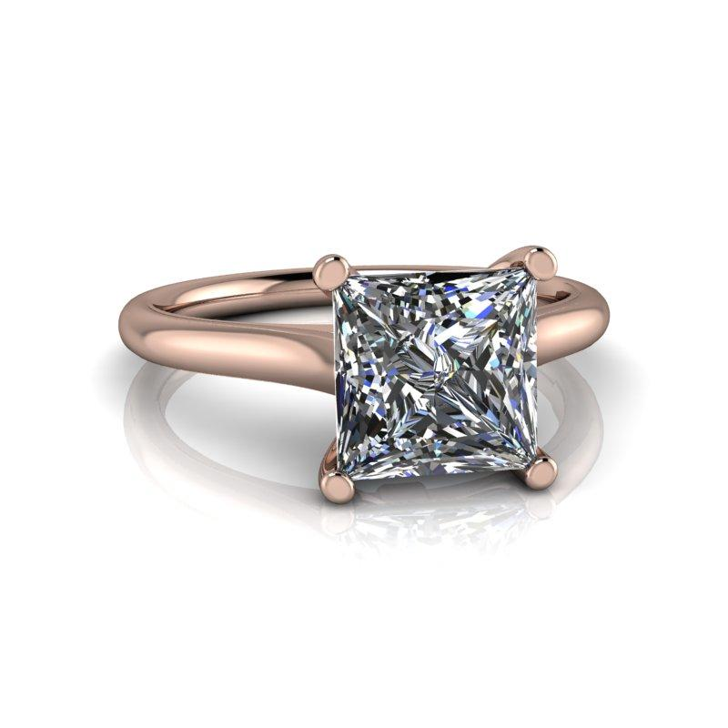 1.92 CTW Princess Cut Forever One Moissanite Solitaire Engagement Ring-BVD