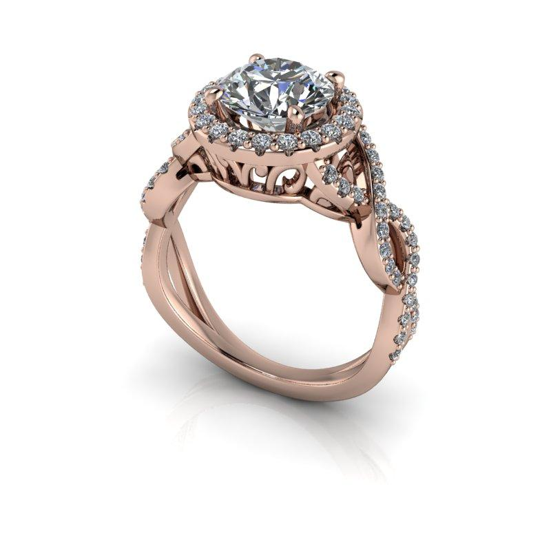 1.92 CTW Round Forever One Moissanite Twist Halo Engagement Ring-BVD
