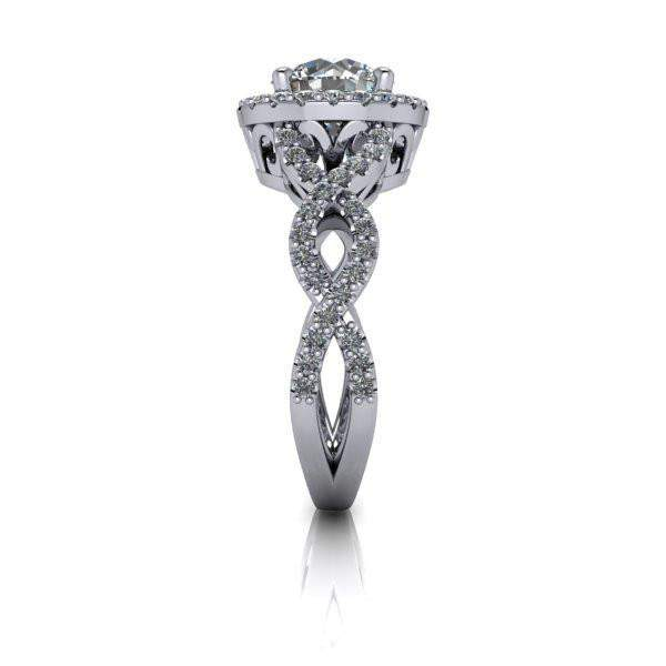 1.92 CTW Round Forever One Moissanite Twist Halo Engagement Ring-Bel Viaggio Designs