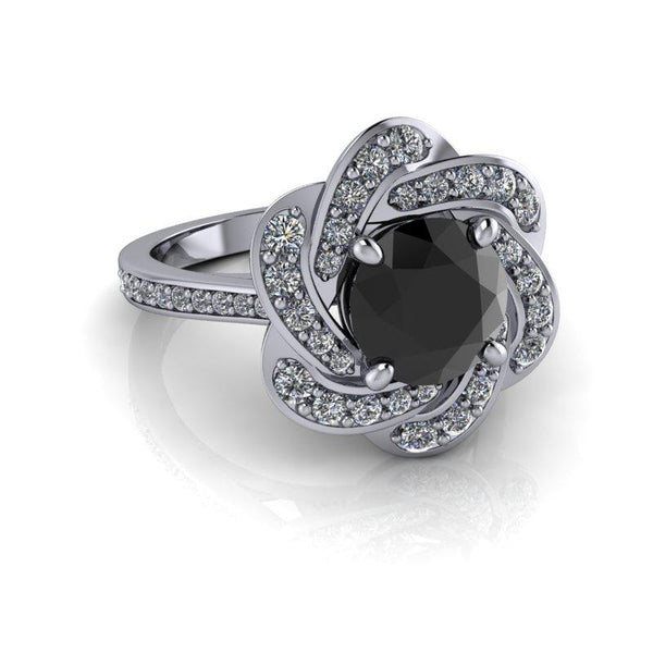 1.93 ctw Black Diamond Engagement Ring-Bel Viaggio Designs