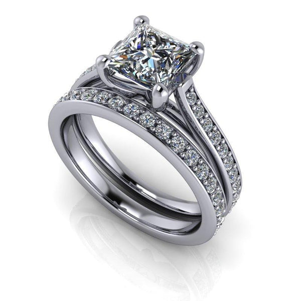 1.93 CTW Moissanite and Lab Grown Diamond Cathedral Bridal Set-Bel Viaggio Designs