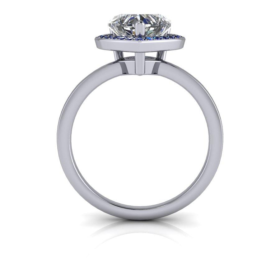 1.93 CTW Sapphire & Forever One Moissanite Heart Shape Engagement Ring-BVD