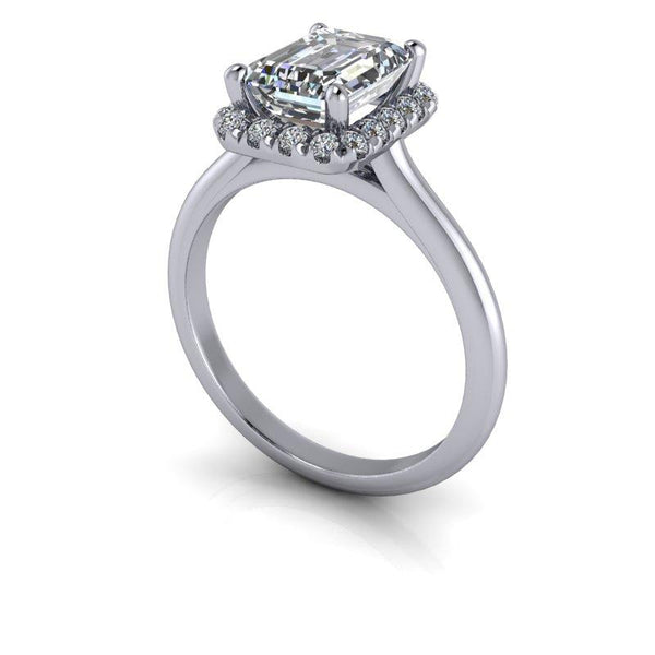 1.95 CTW Bridal Set Emerald Cut Forever One Moissanite Halo Engagement Ring-Bel Viaggio Designs