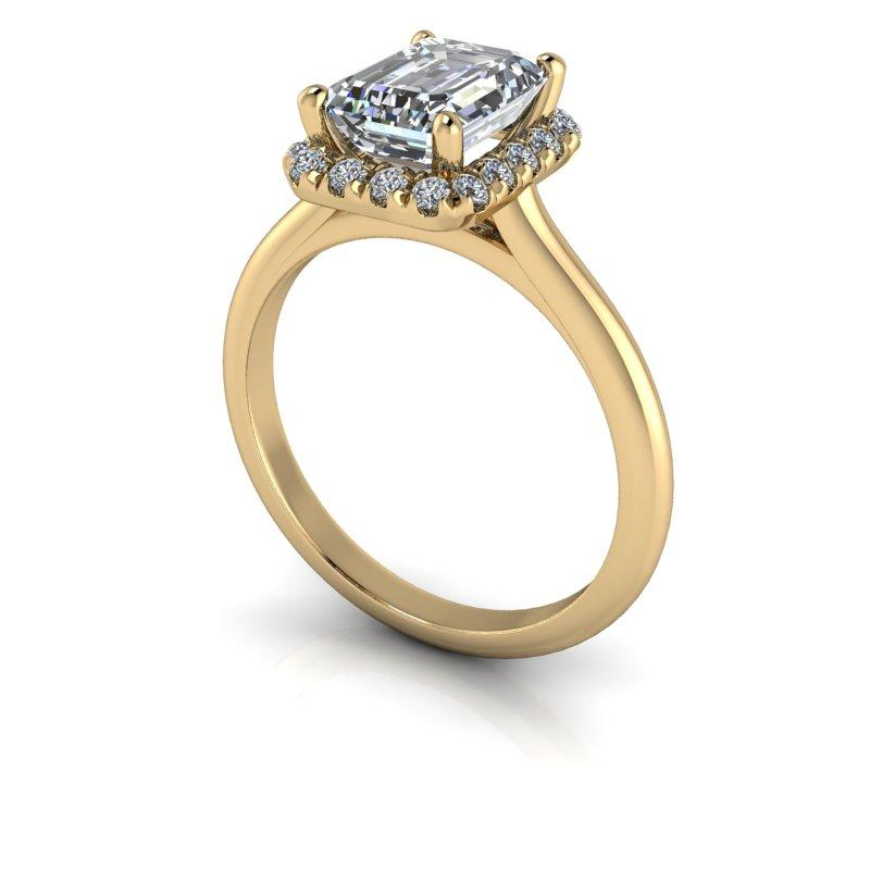 1.95 CTW Bridal Set Emerald Cut Forever One Moissanite Halo Engagement Ring-Bel Viaggio Designs, LLC