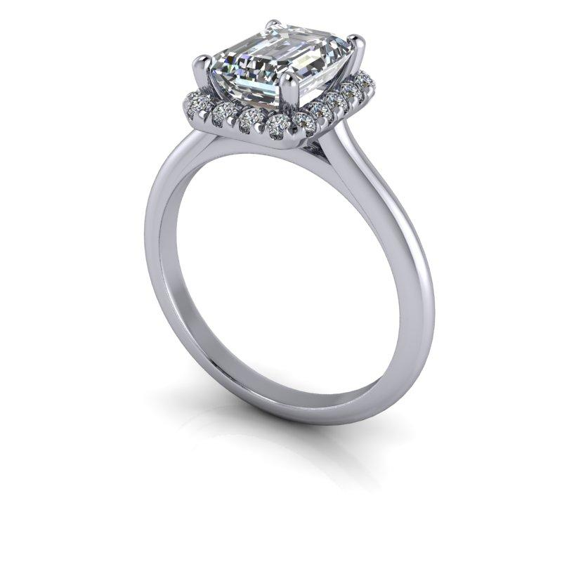 1.95 CTW Emerald Cut Forever One Moissanite Halo Engagement Ring-Bel Viaggio Designs, LLC