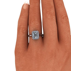 1.95 CTW Emerald Cut Forever One Moissanite Halo Engagement Ring-BVD