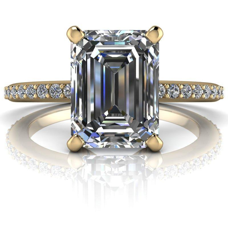 1.95 CTW Emerald Cut Moissanite and Lab Grown Diamond Engagement Ring-Bel Viaggio Designs