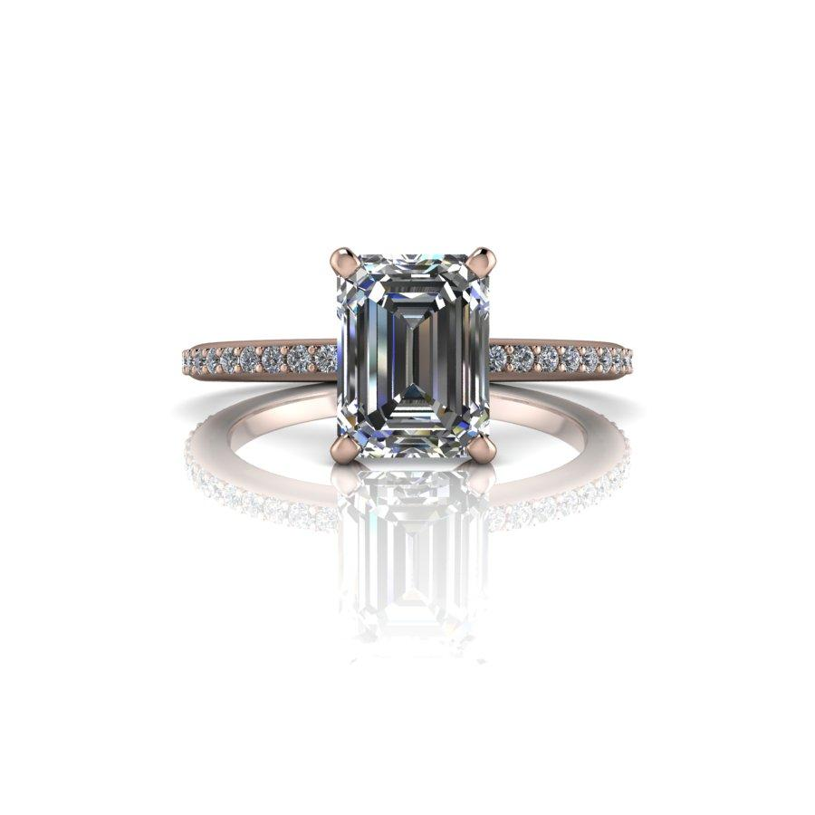1.95 CTW Emerald Cut Moissanite Engagement Ring - Center Stone Options-BVD
