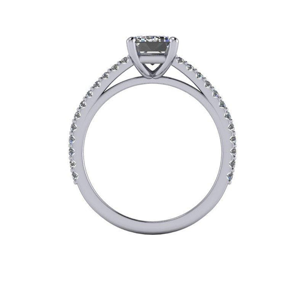 1.96 CTW Emerald Cut Forever One Moissanite Cathedral Engagement Ring, Thin Band-Bel Viaggio Designs