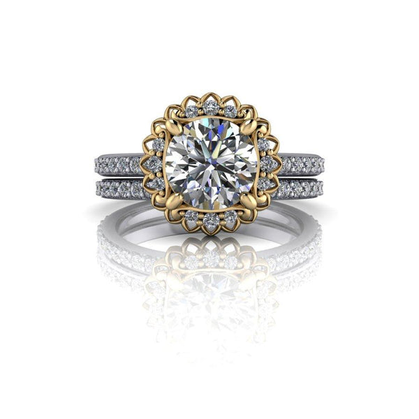 1.97 CTW Moissanite Bridal Set, Forever One Moissanite Halo Engagement Ring-BVD