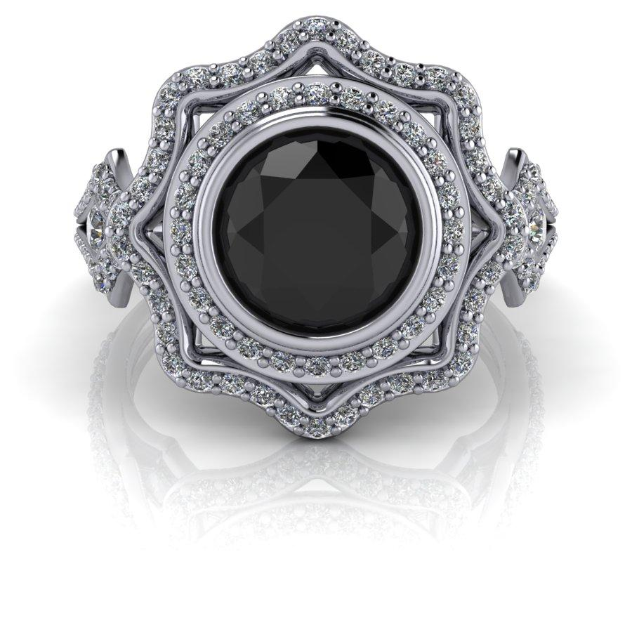 1.98 ctw Vintage Style Diamond Engagement Ring, Black Diamond Ring-BVD