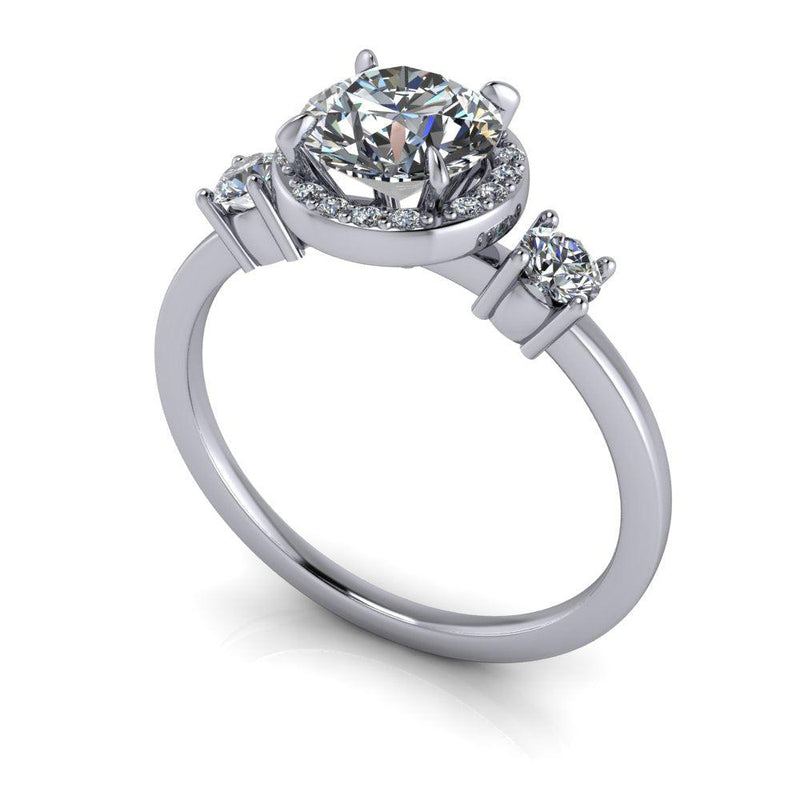 1.26 ctw Moissanite & Diamond Three Stone Halo Engagement Ring-Bel Viaggio Designs