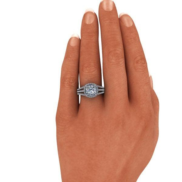 3.10 ctw Cushion Cut Colorless Moissanite & Diamond Engagement Ring-Bel Viaggio Designs