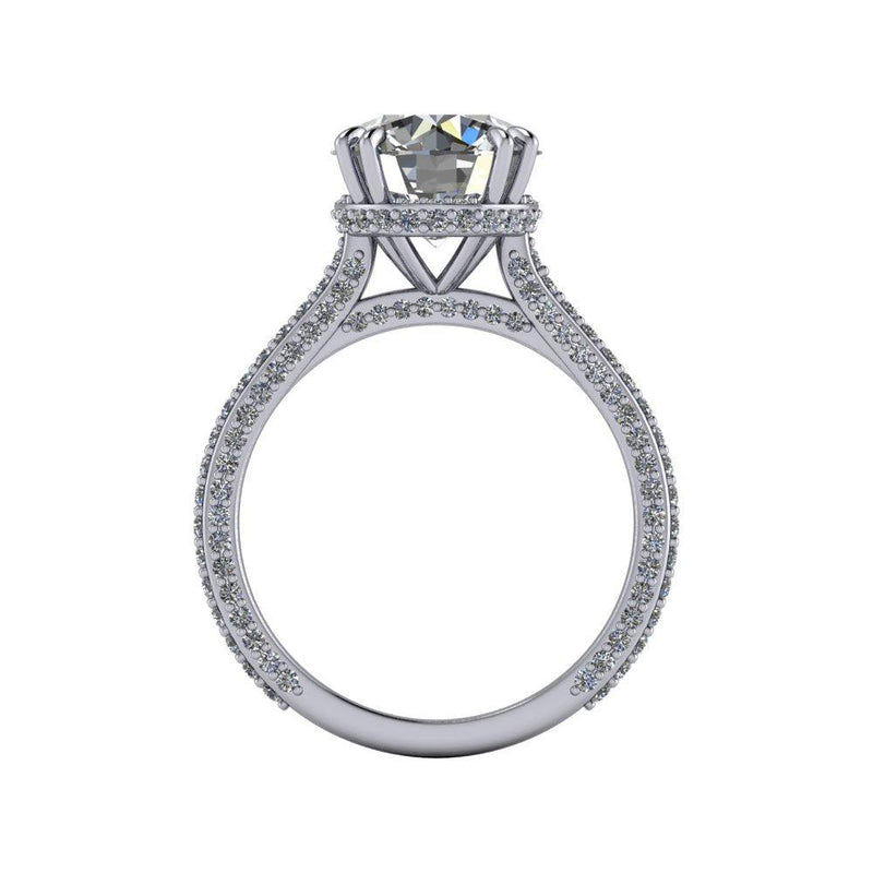 4.20 CTW Round Moissanite Cathedral Engagement Ring Hidden Halo-Bel Viaggio Designs