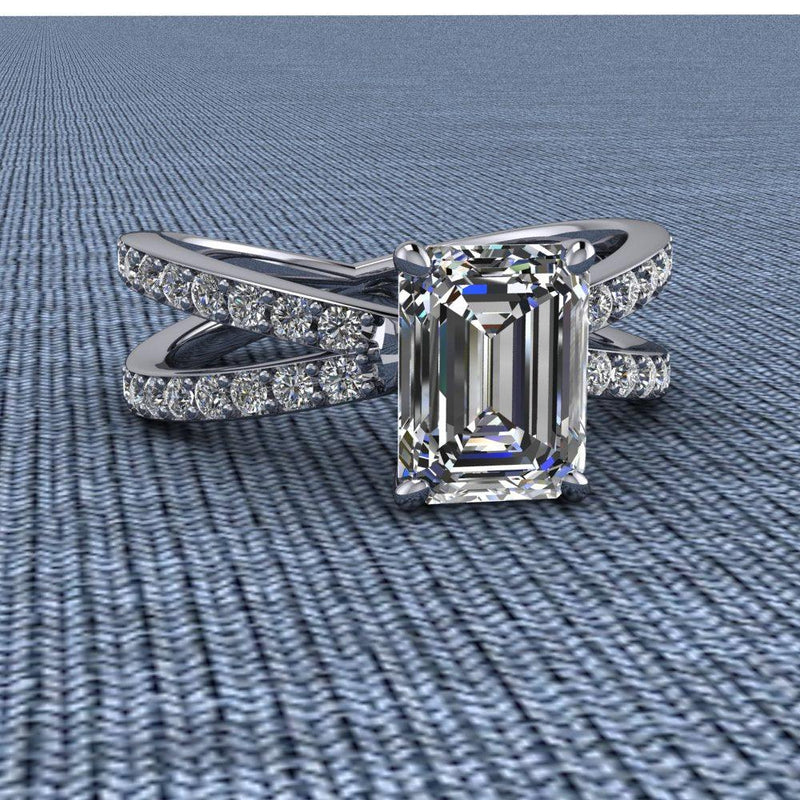 2.08 CTW Split Shank Emerald Cut Moissanite Engagement Ring-Bel Viaggio Designs